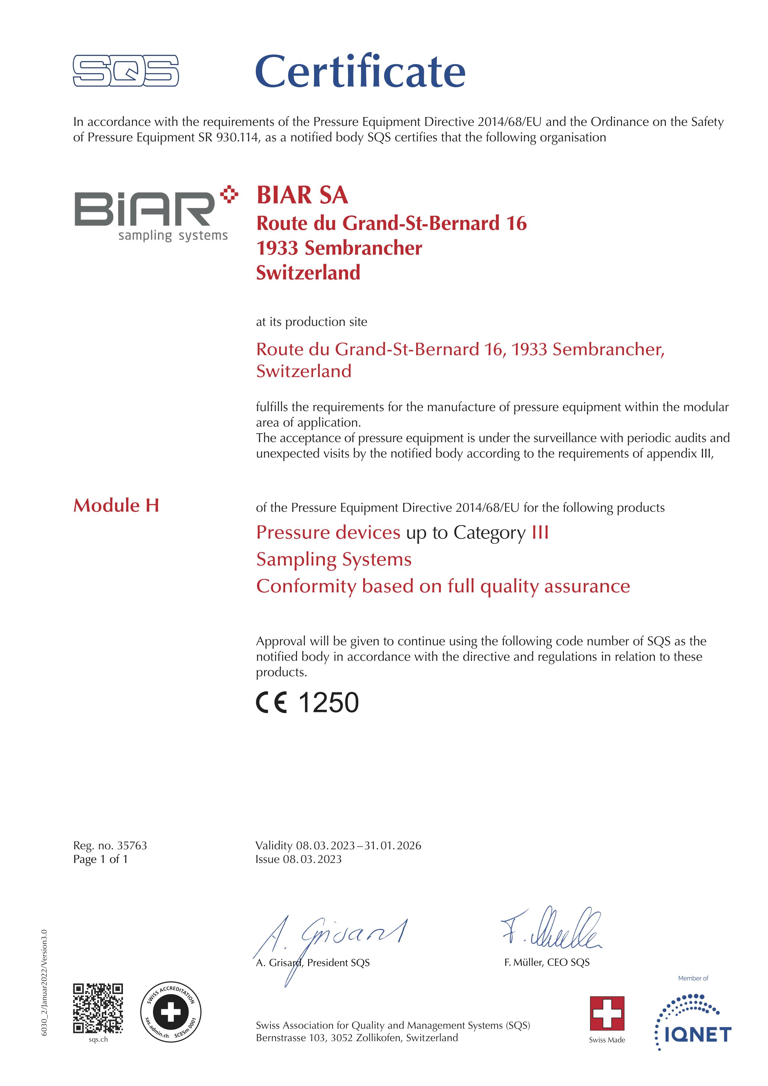 European Pressure Equipment Directive 2014.68.EU Module H